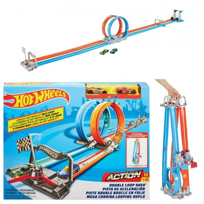 Hot Wheels Double Loop Dash Playset Fold and Go Racetrack Includes 2x Hot Wheels Basic Car