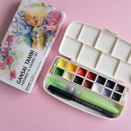 ZIG Gansai Tambi Watercolor Professional Quality Portable 14 Colors Set